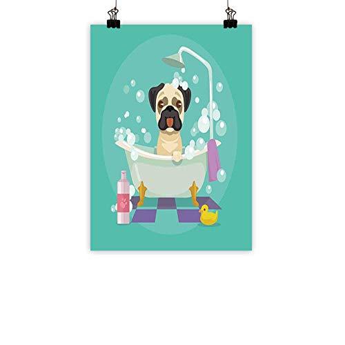 familytaste Nursery Light Luxury American Oil paintingPug Dog in Bathtub Grooming Salon Service Shampoo Rubber Duck Pets in Cartoon Style Image Home and everythingTeal 31
