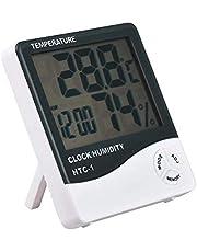 جهاز لقياس مستوى الرطوبة ودرجة الحرارة ويحتوي على ساعة، مزود بشاشة ال سي دي، مناسب استخدامه في داخل المنزل HTC-1