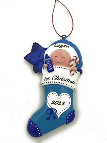 Personalized Baby`s Boy First Christmas Ornament 2018 Free Personalization-Engraved