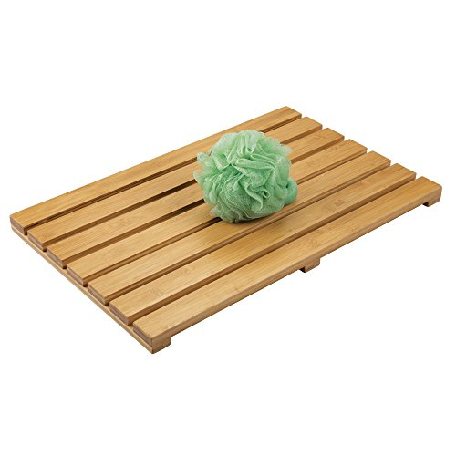 mDesign Natural Bamboo Non-Slip Rectangular Spa Bath Mat – for Bathroom Showers, Bathtubs, Floors – Slatted Design, Eco-Friendly – Indoor and Outdoor use – 100% Bamboo Wood, Natural Light Wood