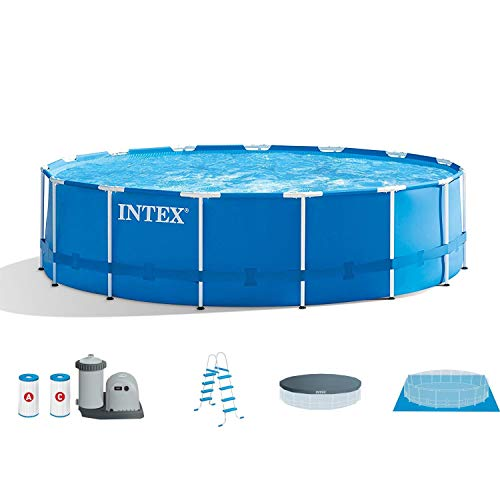 (Intex 18ft X 48in Metal Frame Pool Set with Filter Pump, Ladder, Ground Cloth & Pool Cover)