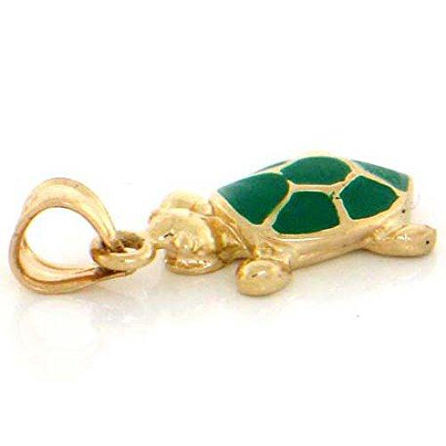 (10k Solid Gold Enamel Turtle Charm Pendant Jewelry )