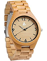 Treehut Mens Bamboo Wooden Watch with Zebrawood Wood Strap Quartz Analog wit.