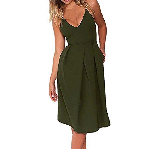 PAOLIAN Damen Kleider, Frauen V-Ausschnitt Träger Abendkleid Partykleid  Verstellbare Sommerkleid ärmellose Cocktailkleid Strandkleid 29659dbc54