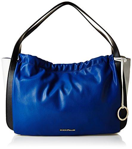 Pollini Sc4501Pp11Sf170A, borse Messenger Donna, Blu/Bianco/Nero, 44 cm