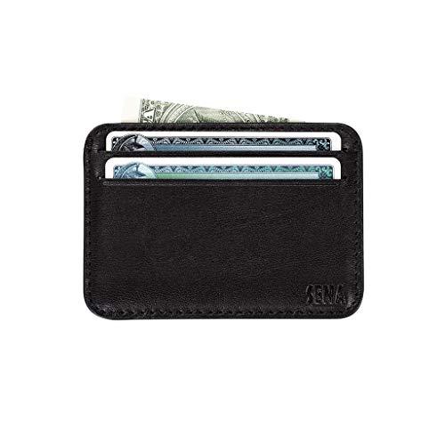 - Sena Deen Slim Leather Credit Card Holder - Black