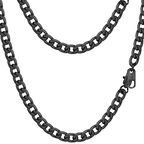 PROSTEEL Black Cuban Link Necklace Chain Goth Gothic Punk Jewelry Gift Men Women Layered Layering Curb Necklace -
