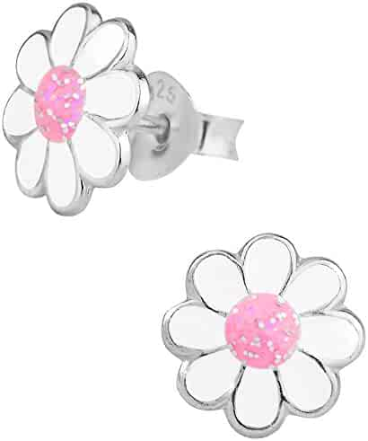 Sterling Silver Hypoallergenic Pink & White Glitter Flower Stud Earrings for Girls (Nickel Free)
