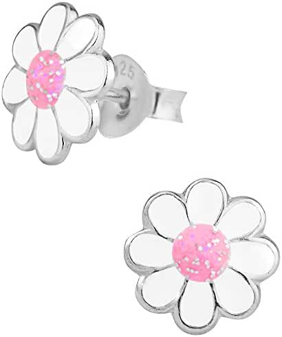 Sterling Silver Hypoallergenic Pink & White Glitter Flower Stud Earrings for Girls (Nickel Free)