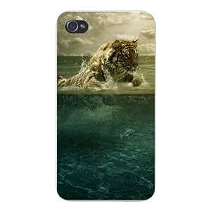 Apple Iphone Custom Case 4 4s Snap on - Big Cat Tiger Running Through Water