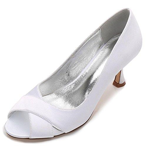 YC L Femmes Mariage Chaussures Soie White Peep E17061 Satin Mesure Sandals Lace sur Toe comme Stitching pour 13 de dXrwCxq5r