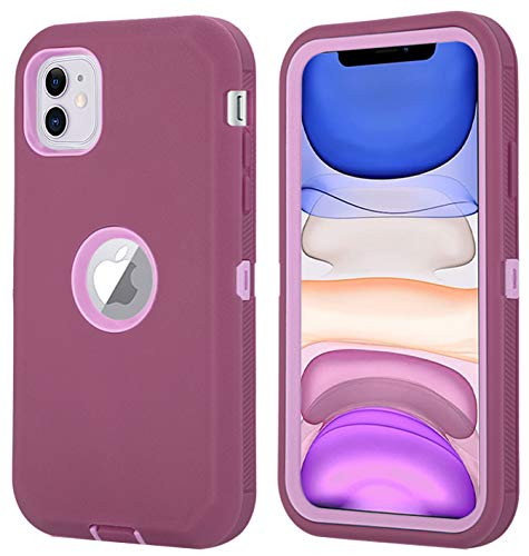 Aimoll-88 for iPhone 11 Case (6.1″), [with Built-in Screen Protector] [Kickstand/Clip Belt] Full Body Rugged Heavy Duty 3-Layer Protective Cover for iPhone 11 6.1-inch (Wine/Pink)