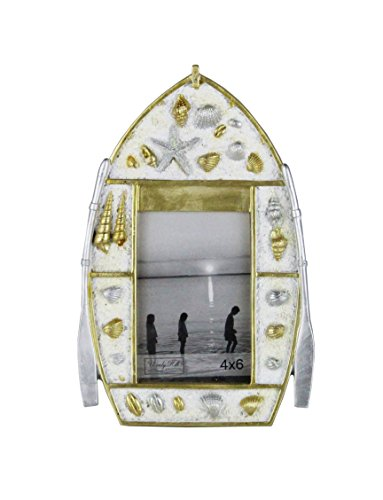 4 x 6 Boat Shell Beach Coastal Picture Photograph Wall or Table Frame Polyresin made to display - Beach Is Blizzard Open