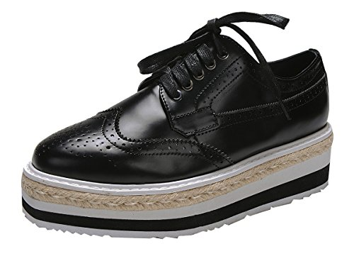 Breeze-up Da Donna Breeze Lace Up Corda Piatta Piattaforma Oxford Nero