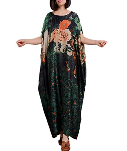 Maxi Silk Floral Dress (YESNO JM5 Women Long Maxi Floral Dress Ink Painting Colorful Bohemia Loose Fit 100% Silk/Side Pockets)