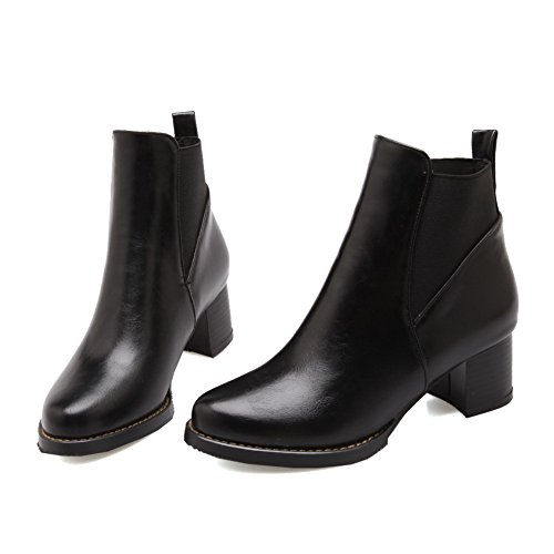 Heels Chunky Band Black BalaMasa Elastic Imitated Kitten Heels Ladies Boots Leather Yx4nPwHq