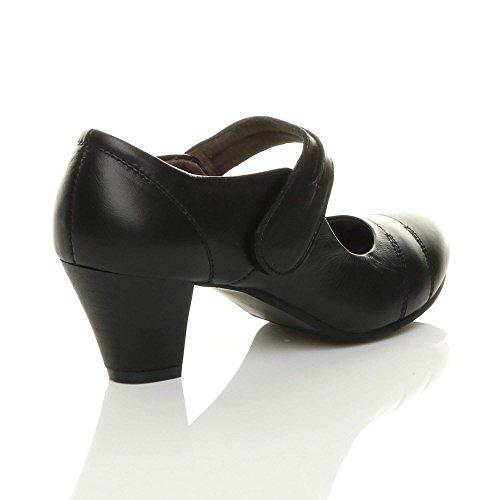 Cuir Babies Talon Travail Escarpins Femmes Confort Chaussures Noir Pointure Moyen gBqwwp0U
