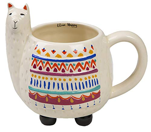 - Natural Life Llama Mug - 16 oz, Fun, Cute, 3D Ceramic Llama Mug With Handle for Coffee, Tea, Gifts, Decor