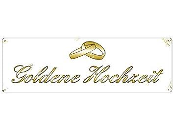 Metallschild Shabby Vintage Blechschild Goldene Hochzeit Dekoschild Geschenk