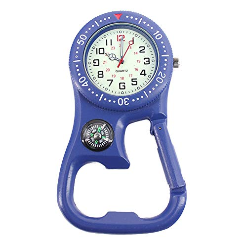 Centeraly 3in1 North Arrow Key Ring Thermometer Outdoor Carabiner Watch Multifunctional(Blue)