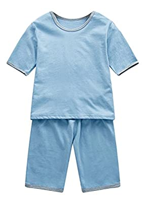 LLIOFUS Little Boys 2ps Solid Sleepwear 100% cotton Soft Snug-Fit Pajama set