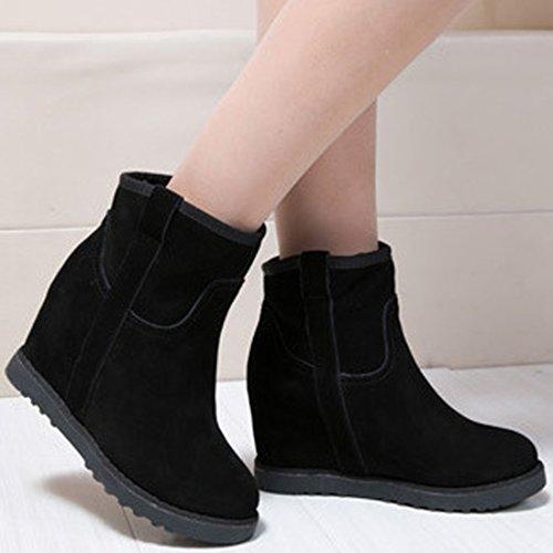 Chaussure Rond Wedge Couleur Femme Pure Compensés Bout Talons Marron Boots Bottes Oasap Montantes qZFvB4