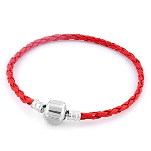 Heart of Charms Braided Handmade Leather Bracelets 3.5mm Wristband Men Women Beads Charms (Red) -