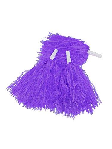 Pangda 12 Pack Cheerleading Pom Poms Sports Dance Cheer Plastic Pom Pom for Sports Team Spirit Cheering (Purple)]()