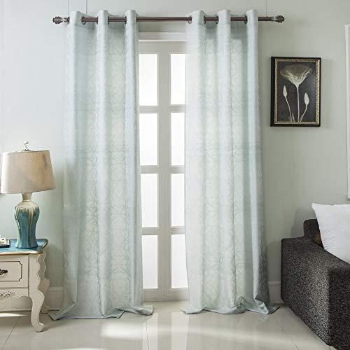 RT Designers Collection Durham Damask Jacquard Grommet Curtain Panel Pair (Set of 2) 76