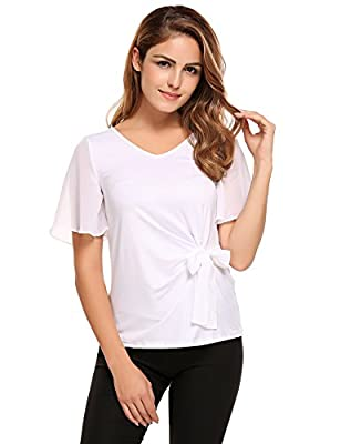 Meaneor Women Chiffon Short Sleeve Blouse Casual V Neck Slim Top Waist Tie Shirt