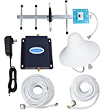 Phonelex Band12 Band17 4G LTE AT&T 700Mhz FDD Cell Phone Signal Booster Repeater Mobile Signal Amplifier Reception with Indoor Ceiling and Outdoor YaGi Directional Antennas Cable Kit For Home Office