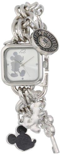 Disney Women's MK2057 Mickey Mouse Silver Sunray Dial Charm Bracelet Watch from Disney