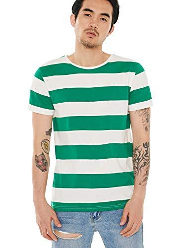 Zbrandy Wide Striped T Shirt for Men Fashion Breton Tee Basic Stripes Green White S