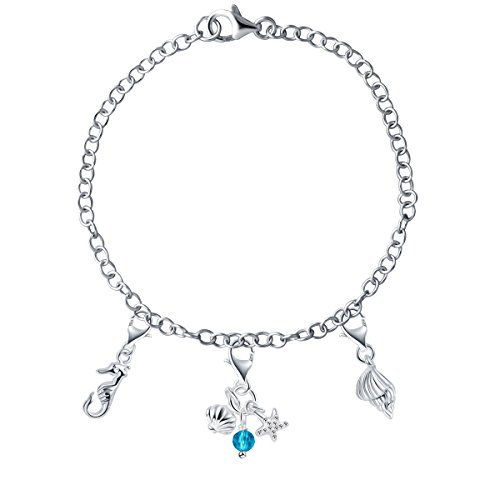 YAN & LEI Sterling Silver Mix and Match Assorted Beach and Ocean Theme Charms Bracelet Set:The Seashell,Seahorse and Crystal Set (Beach Charm Theme)