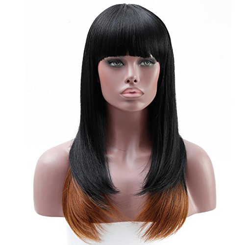 Search : DIFEI Long Black Straight Wig Black Women Wigs For African American Heat Resistant Synthetic Wigs With Bangs(1BT30)