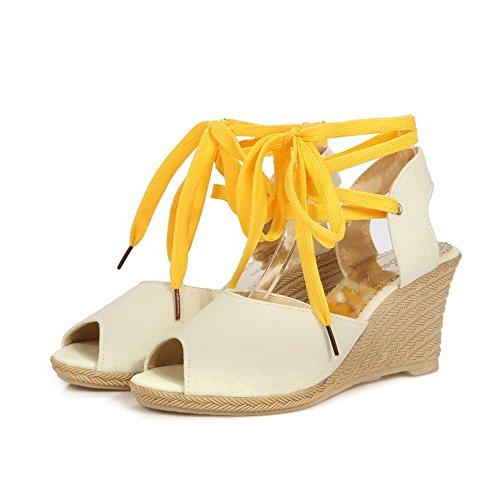 Amoonyfashion Kvinna Kick-häl Mjuka Materialet Diverse Färg Spets-up Öppen Tå Kilar-sandaler Beige