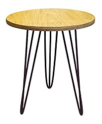 Tosel EVA, Table Ronde Pied Acier, Barre, Marron, 40 x 40 x 45 cm