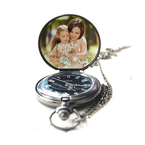 (Personalized Pocket Watch Custom Photo Pocket Watch with Chain for Men/Women Engraved with Any Words, A Great Gift for Father and Boyfriend.)