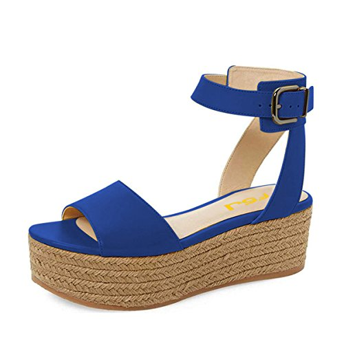 FSJ Women Chic Open Toe Platform Wedge High Heel Espadrilles Sandals Ankle Strap Casual Summer Shoes Size 9.5 Blue