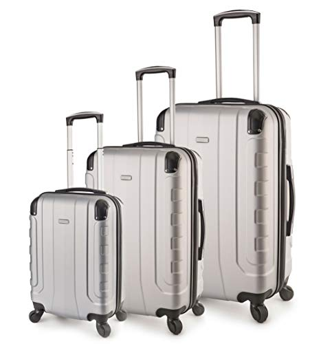 TravelCross Chicago Luggage 3 Piece Lightweight Spinner Set - Silver