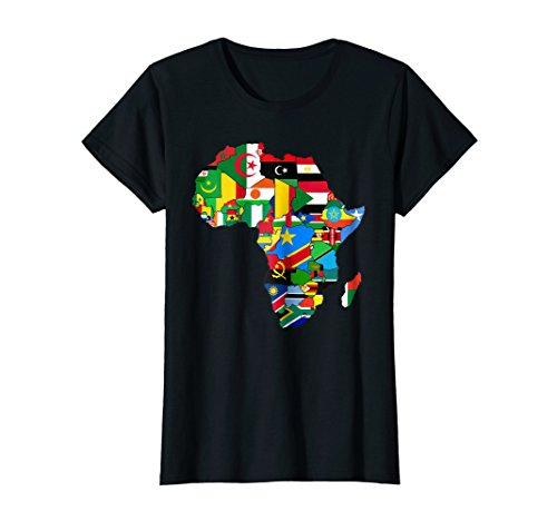 Womens Africa map t-shirt African Country Flag Collage t-shirt Medium Black (Map Africa T-shirt)