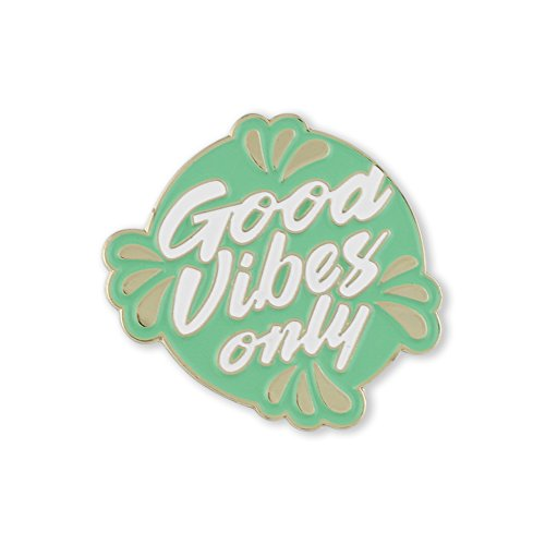 Good Vibes Only Green Enamel Lapel Pin – 1 - Brooch Enamel Flower Green