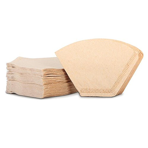Hisight Size 4 Coffee Filter Paper Cones Paper Filter Unbleached 2x 40-Count natural brown
