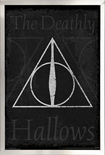 Framed Master of Death - Elder Wand - Resurrection Stone - Cloak of Invisibility - Harry Potter 22x34 Poster in Brushed Nickel Finish Wood Frame (Harry Potter Elder Wand Cloak And Stone)