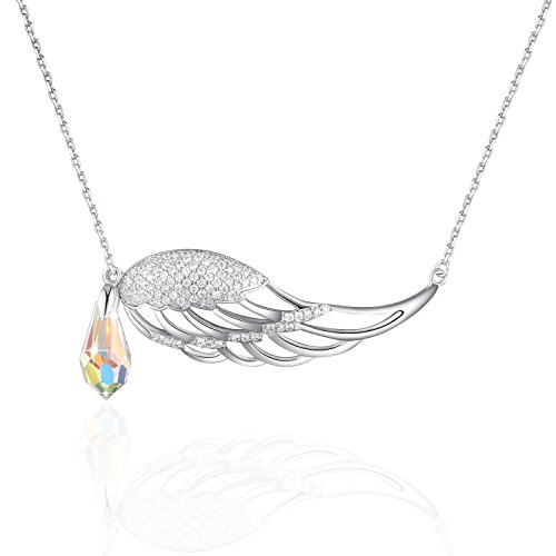 Angel Wings Necklace PLATO H Guardian Angel Wing Drop Pendant Necklace with Swarovski Crystal for Women Fashion jewelry, Bithday Gifts, Love Angle Necklace For Mom, Guardian Wings Crystal Drop Necklac]()