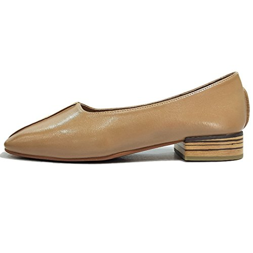 Slip Womens Low Apricot Hoxekle Low Vamps Rubber Toe Heels On Shoes Sole Loafer Square Top Microfiber R44xPdwH