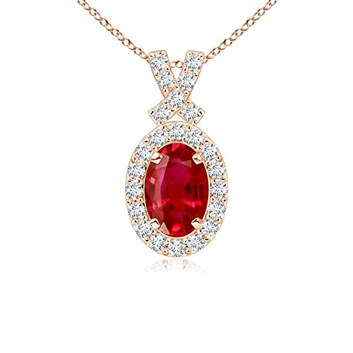 Vintage Style Ruby Pendant with Diamond Halo in 14K Rose Gold (6x4mm Ruby)