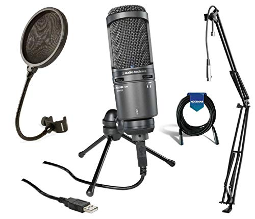 Audio Technica AT2020USB Plus Cardioid Large Diaphragm Condenser USB Mic with On-Stage MBS5000 Broadcast/Webcast Microphone Boom Arm with XLR Cable + Samson PS04 Mic Pop Filter + 20' 6mm Mic Cable