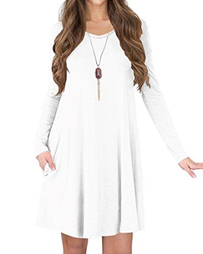 TINYHI Women's Long Sleeve V-Neck Slit Pockets Casual Swing T-Shirt Dress(White,S)]()