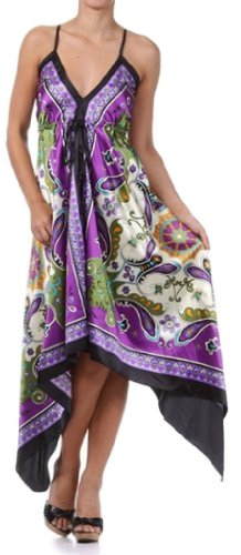 FOHandkerchiefG-908 Butterfly Paisley Design Silk Feel Handkerchief Hem Criss Cross Back Adjustable Maxi / Long Dress - Purple / Green-One Size Fits Most